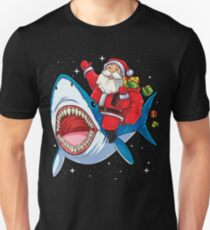 Santa Riding Shark T Shirt Christmas Gifts Galaxy Space Tees Unisex T-Shirt