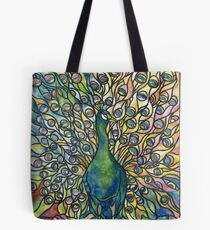 Stained Glass Peacock Tote Bag