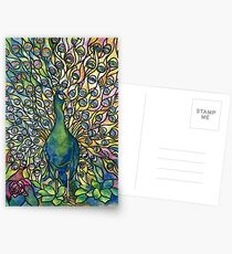 Stained Glass Peacock Postcards