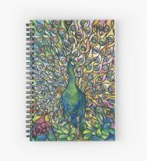Stained Glass Peacock Spiral Notebook