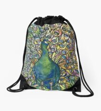 Stained Glass Peacock Drawstring Bag
