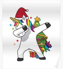 Dabbing Unicorn T-Shirt Funny Christmas Xmas Dab Tee Poster