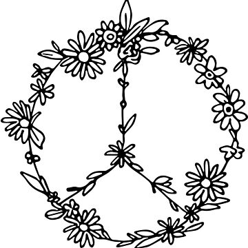 Floral Doodle Peace Sign by aterkaderk