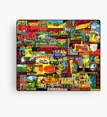 50 American States Vintage Travel Decal Bomb Canvas Print