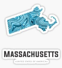 Massachusetts Map Art Abstract in Blue Sticker