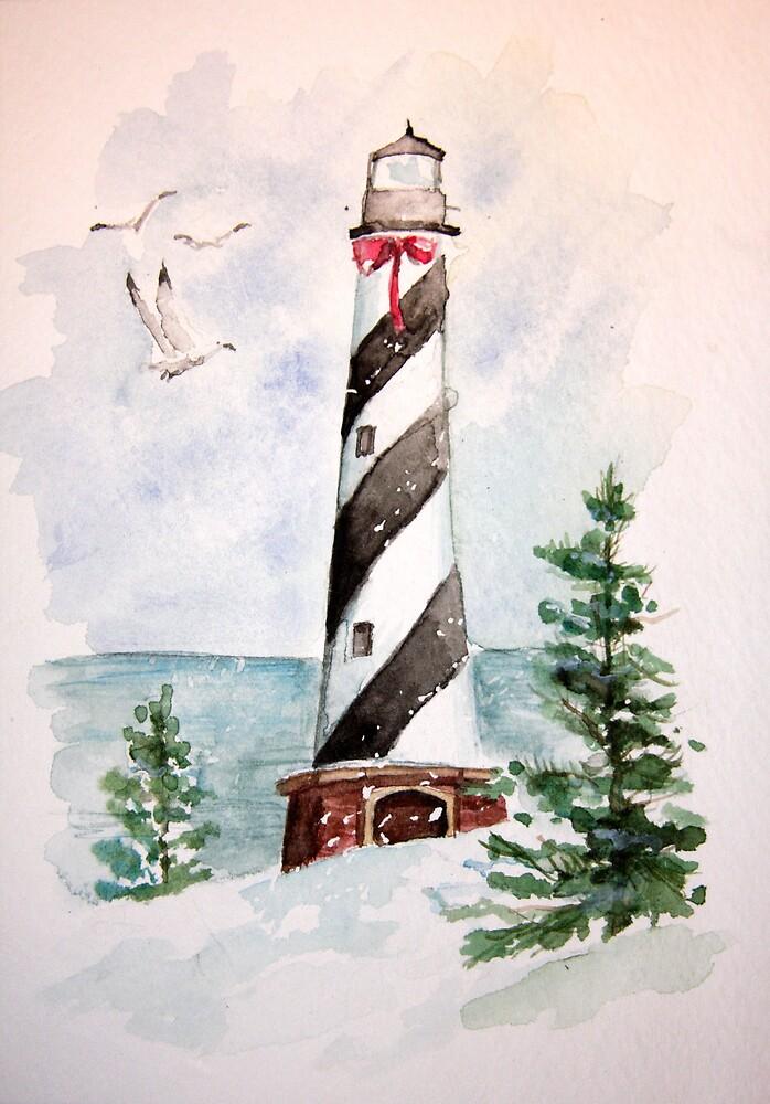 Christmas Lighthouse by LuAnnDunkinson