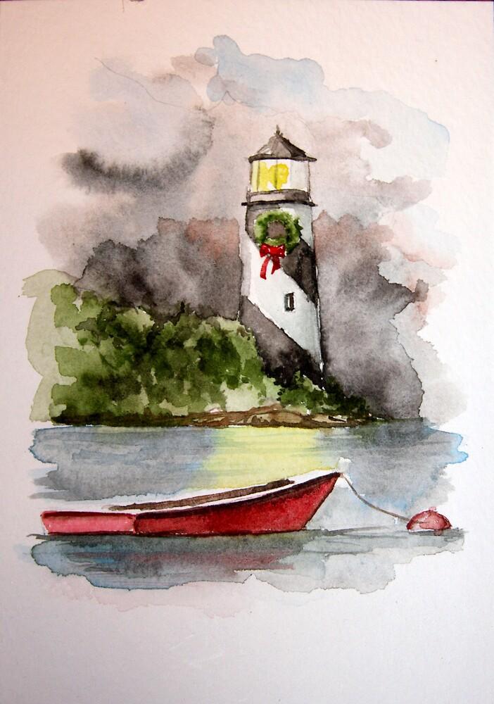 Christmas Lighthouse II by LuAnnDunkinson