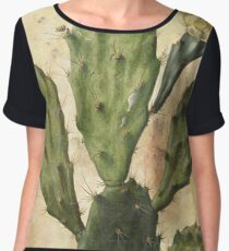 Cactus Prickly Pear Vintage Collage Women's Chiffon Top