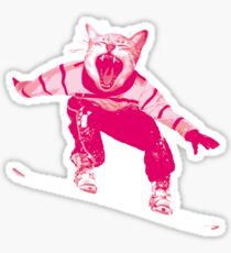 Snowboarder Cat Snow Skiing Fun Sticker
