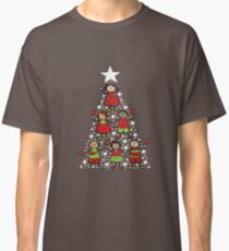 Christmas Tree Kids and Sparkling Stars Classic T-Shirt