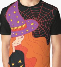 Witch girl in the hat and web Graphic T-Shirt