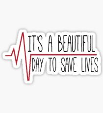 """It's a Beautiful Day to Save Lives"" Sticker"