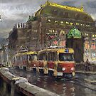 Prague Tram Bridge Legii National Theatre by Yuriy Shevchuk