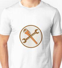 Spanner Monkey Wrench Crossed Circle Retro Unisex T-Shirt