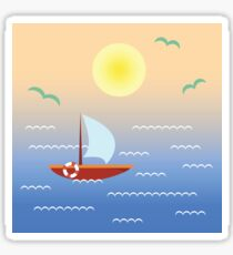 Boat on sunset water Sticker