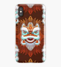 Vintage seamless pattern of Chinese lion head dance. iPhone Case/Skin