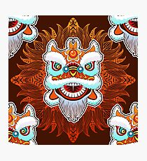 Vintage seamless pattern of Chinese lion head dance. Photographic Print
