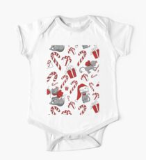 Christmas Cat Pattern all White Kids Clothes