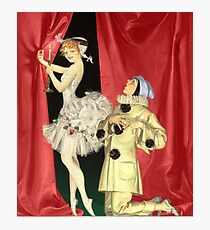 Ballerina with Court Jester Professing His Love Red Curtains Dance Photographic Print