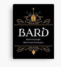 DnD Bards Bard Dungeons and Dragons Inspired D&D Canvas Print