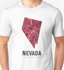 Nevada Map Art Abstract in Deep Red Unisex T-Shirt