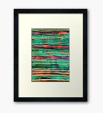 bohemian styled green and orange pattern Framed Print