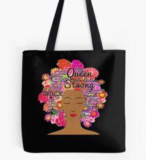 Afro Word Cloud Art Flower Natural Hair T-Shirt Black Women Tote Bag