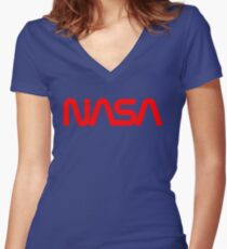 Nasa Red Women's Fitted V-Neck T-Shirt