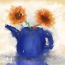An Artistic Painting of a Blue Watering Can with 2 Orange Flowers by ibadishi