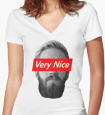 Very Nice Pewdiepie Women's Fitted V-Neck T-Shirt