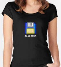 Save : Pixel Floppy Disk Women's Fitted Scoop T-Shirt