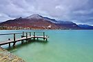 Autumn snow over the lake in Annecy by Patrick Morand