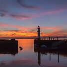 Newhaven Lighthouse Edinburgh at sunset by Jasmin Bauer