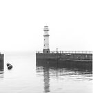 Newhaven Lighthouse in black and white by Jasmin Bauer
