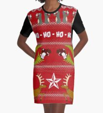 Funky Christmas Sweater Graphic T-Shirt Dress