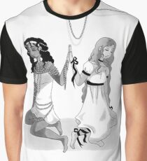 Pearls and Ribbons - Greyscale Graphic T-Shirt