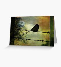 Vogel auf einem Draht Grußkarte