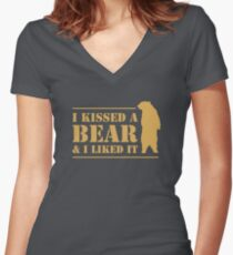 I Kissed A Bear And I Liked It Cool Graphic Women's Fitted V-Neck T-Shirt