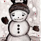 Gray Scale Snowman/ Red Hearts by Kimberly Pusey