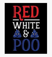 Red White & Poo Poop Emoji Emoticon  Photographic Print