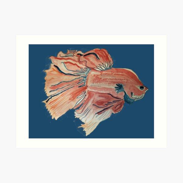 Original, Independent, Watercolor Betta Fish  Art Print