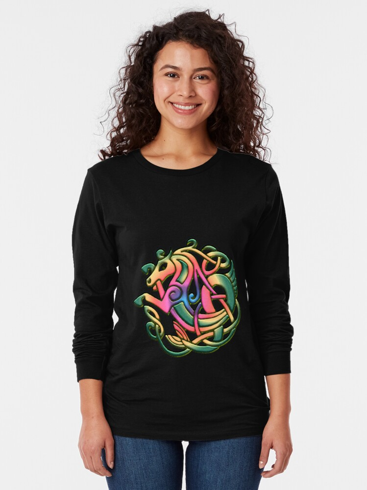 Alternate view of The Kelpie got a rainbow make-over. Black version Long Sleeve T-Shirt