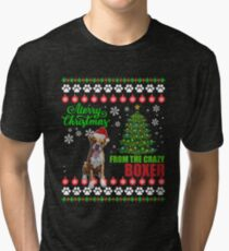 Merry Christmas From Boxer Dog Ugly Sweater T Shirt Tri-blend T-Shirt