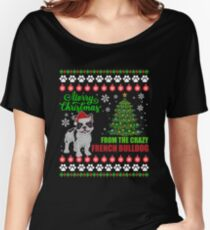 Merry Christmas From French Bulldog Dog Ugly Sweater Tshirt Women's Relaxed Fit T-Shirt