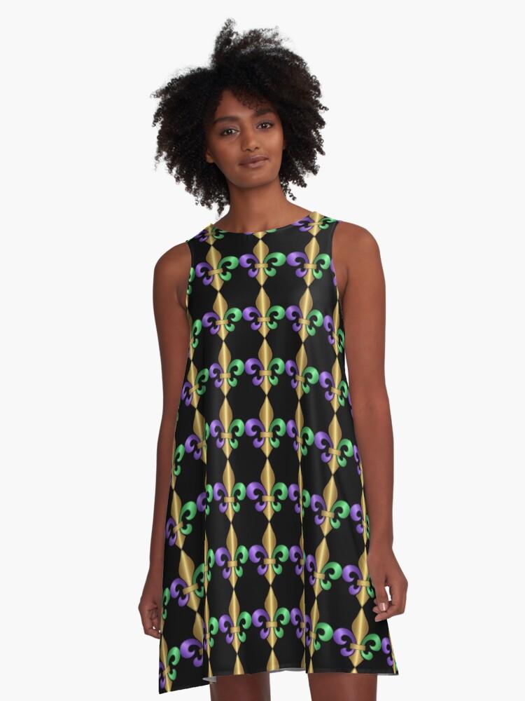 Studio Dalio - Purple Green and Gold Fleur-de-Lis Symbol A-Line Dress