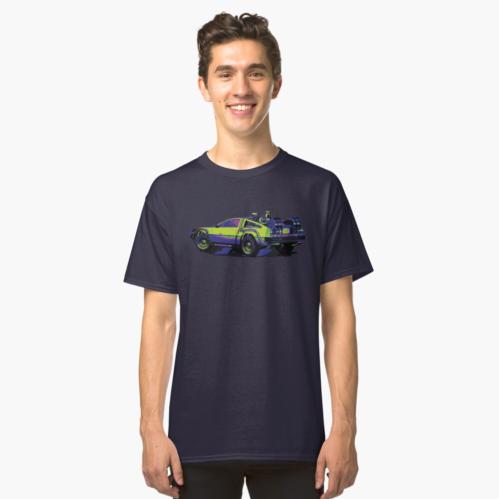 Back to the Future Delorean   Car   Cult Movie Classic T-Shirt Front