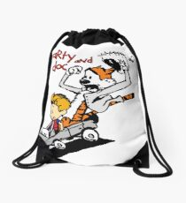 Calvin & Hobbes Back To The Future Drawstring Bag