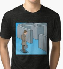 Pop Art Doubtful Businessman with Briefcase Standing in Front of Labyrinth.  Tri-blend T-Shirt