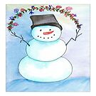 Watercolor Snowman With Wreath by daphsam