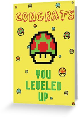 congrats you leveled up greeting cards by byzmopr redbubble